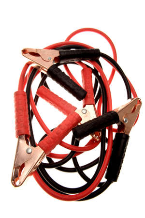 Jumper cables over white background photo