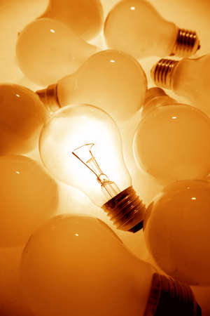 One bright bulb in crowd Stock Photo - 2731692