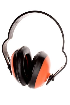 decibels: Ear protectors over white Stock Photo