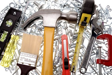 woodwork: Assorted tools over white background