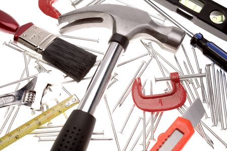 carpenter items: Assortment of tools over white Stock Photo