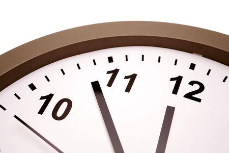 12 o'clock: Closeup of hands on clock face