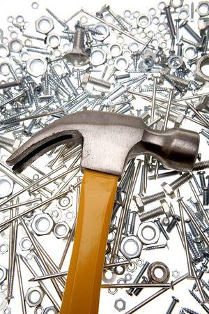tornillos y tuercas: Hammer, tuercas, tornillos y clavos