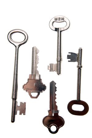 varied: Assorted keys over white background