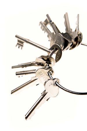 varied: Keys over white background