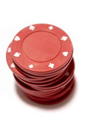luckiness: Poker chips on white