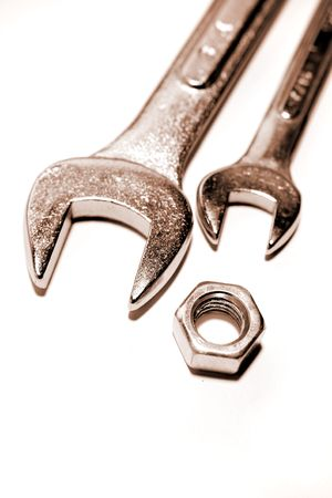 handtools: Spanners and nut Stock Photo