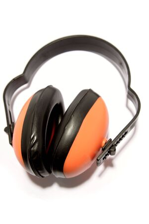 protectors: Ear protectors over white Stock Photo