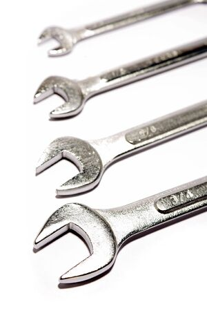 handtools: Assorted spanners over white background Stock Photo