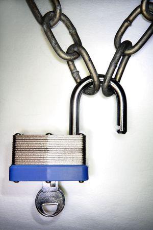 Padlock, key and chain Stock Photo - 3262065