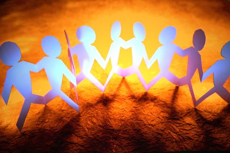Paper-chain people holding hands Stock Photo - 3262041