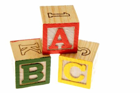 ABC learning blocks isolated over white photo