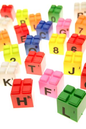 Colorful learning blocks over white Stock Photo - 3281005