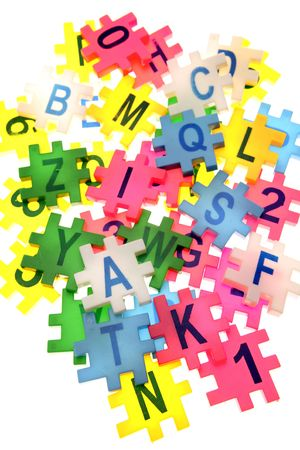 jumble: Alphabet letters and numbers over white