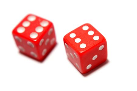 luckiness: Two red dice isolated over white