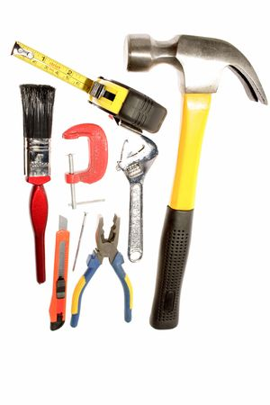 varied: Assortment of tools over white Stock Photo
