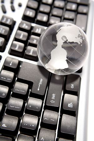Globe on keyboard Stock Photo - 3486503