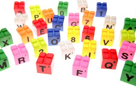 Colorful learning blocks over white Stock Photo - 3495885