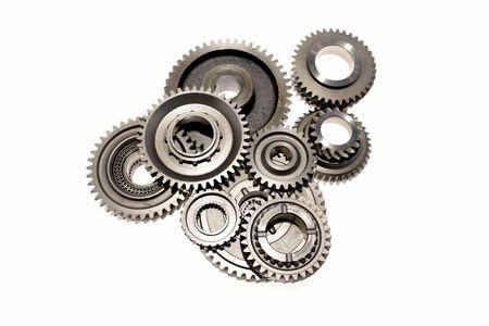 varied: Metal gears on white