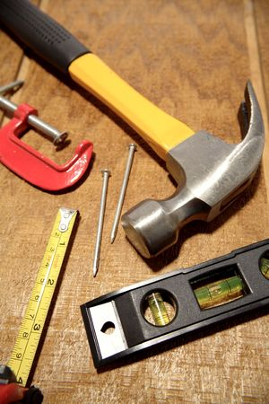 Tools on wooden panel Stock Photo - 3636989