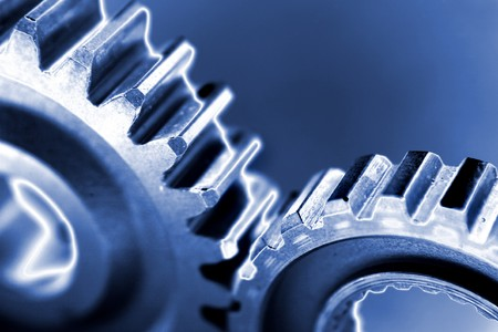 Two gears meshing together photo