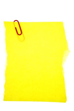 Blank paper held by clip on white background photo