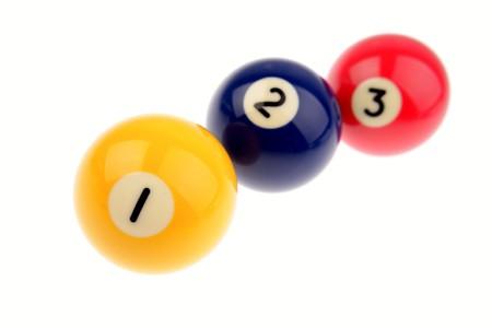 Three pool balls isolated on white background photo