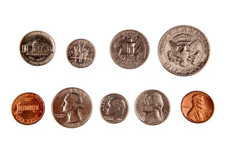 American coins isolated on white Stock Photo
