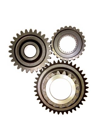 Three gears meshing together over white Stock Photo - 4374676