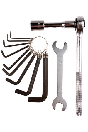 Wrenches, and hex keys isolated over white Stock Photo - 4400181