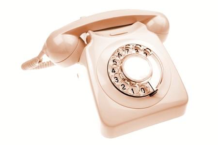 rotary dial telephone: Tel�fono de l�nea de Rotary en blanco Foto de archivo