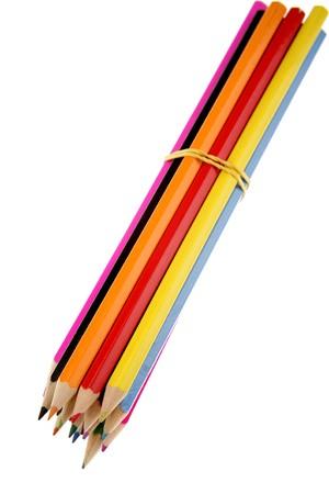 Bundle of pencils on white background photo