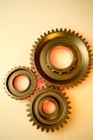 Closeup of cogwheels photo