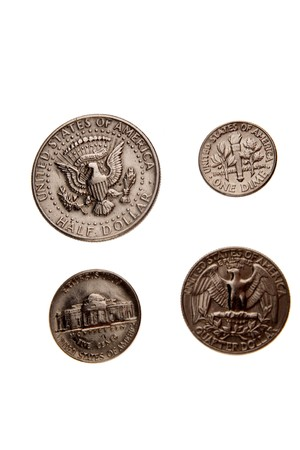 American coins isolated on white photo