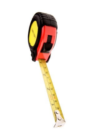 carpenter items: Tape measure isolated on white background Stock Photo
