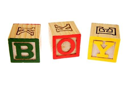 Alphabet learning blocks spelling boy photo