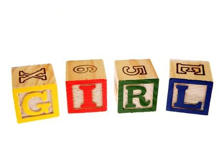 Alphabet learning blocks spelling girl photo