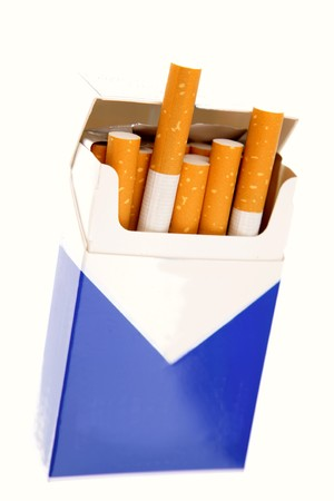 Cigarettes in open pack on white Stock Photo - 4575575