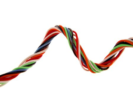 entwined: Colorful cabling on white background