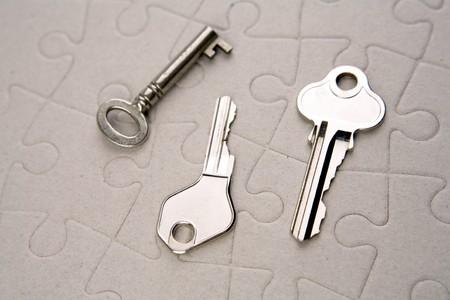 Three keys on jigsaw puzzle photo