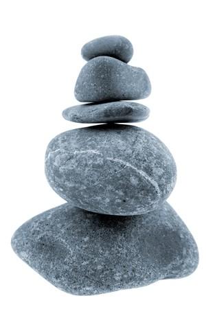 five objects: Fiume rocce accatastate su sfondo bianco Archivio Fotografico