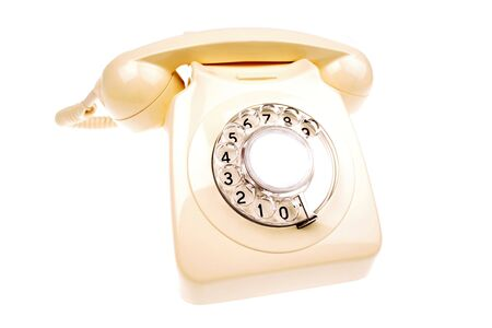 rotary dial telephone: Rotary tel�fono blanco