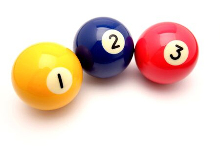 Three pool balls isolated on white photo