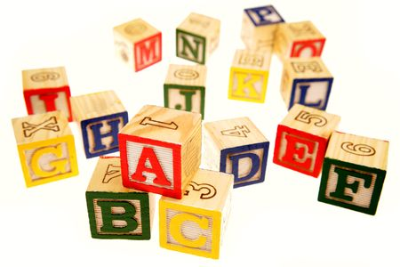 Learning blocks isolated over white photo