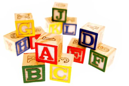 block letters: Learning blocks isolated over white Stock Photo