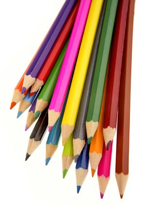 varied: Colored pencils on white background Stock Photo