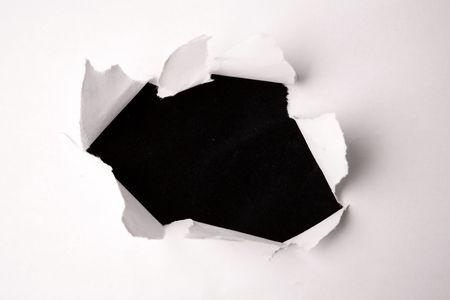 Hole in paper photo