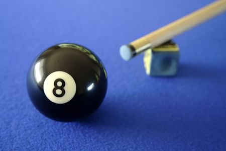Pool ball, cue and chalk on blue table Stock Photo - 4731290