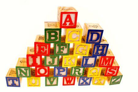 Alphabet learning blocks on white background Stock Photo