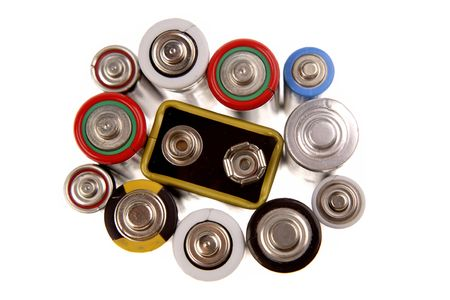 Batteries on white background Stock Photo - 4740991